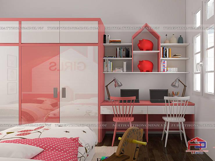 Ảnh 3D thiết kế nội thất phòng ngủ của bé gái nhà anh Tú ở Bắc Ninh - Hạng mục tủ quần áo:  Bedroom by Nội thất Hpro