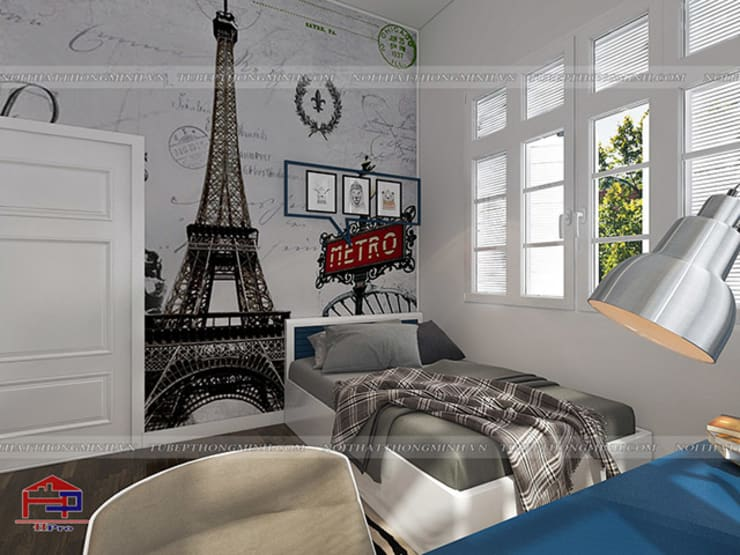 Ảnh 3D thiết kế nội thất phòng ngủ bé trai nhà anh Tú ở Bắc Ninh:  Bedroom by Nội thất Hpro