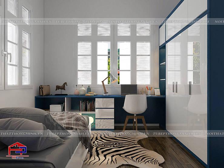 Ảnh 3D thiết kế nội thất phòng ngủ bé trai gỗ MDF lõi xanh nhà anh Tú ở Bắc Ninh:  Bedroom by Nội thất Hpro
