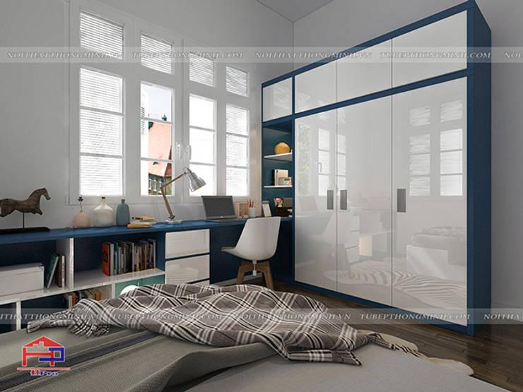 Ảnh 3D thiết kế nội thất phòng ngủ cho bé trai màu xanh dương nhà anh Tú ở Bắc Ninh:  Bedroom by Nội thất Hpro