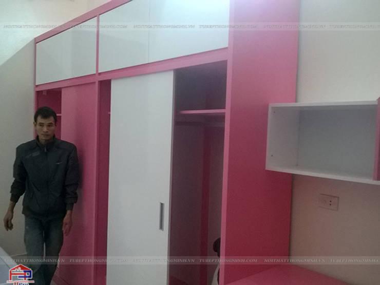 Thi công tủ quần áo trong nội thất phòng ngủ 2 bé gái nhà anh Tú ở Bắc Ninh:  Bedroom by Nội thất Hpro