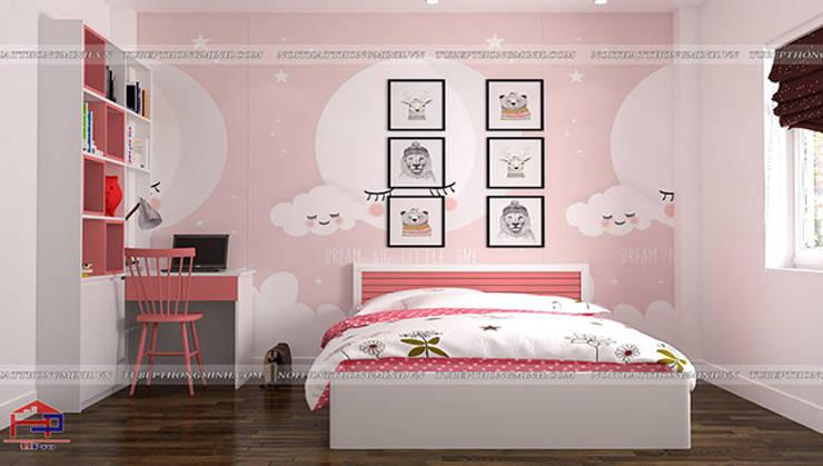Ảnh 3D thiết kế nội thất phòng ngủ bé gái nhà chị Yến ở Long Biên:  Bedroom by Nội thất Hpro