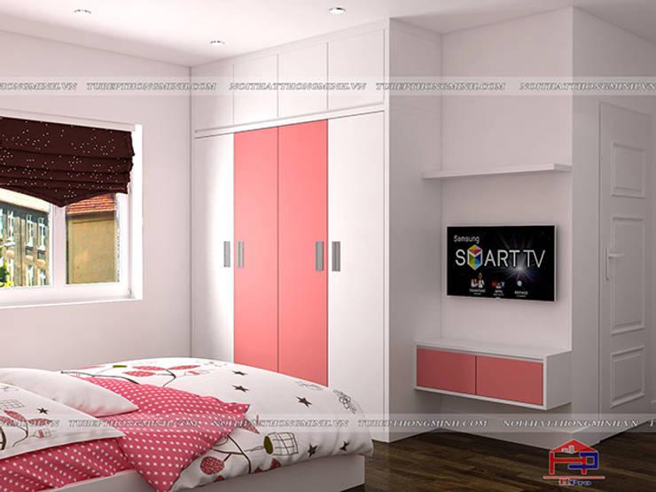 Ảnh 3D thiết kế nội thất phòng ngủ bé gái màu hồng và trắng nhà chị Yến ở Long Biên:  Bedroom by Nội thất Hpro
