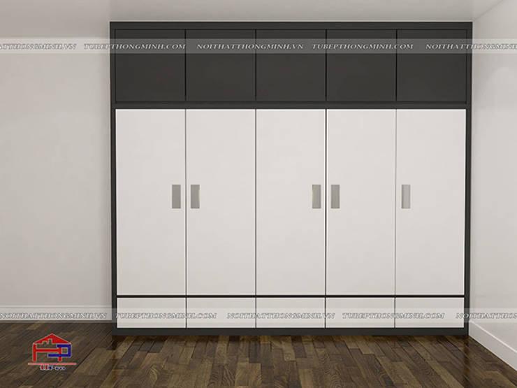 Ảnh 3D thiết kế nội thất phòng ngủ master nhà chị Yến ở Long Biên - Hạng mục tủ quần áo:  Bedroom by Nội thất Hpro
