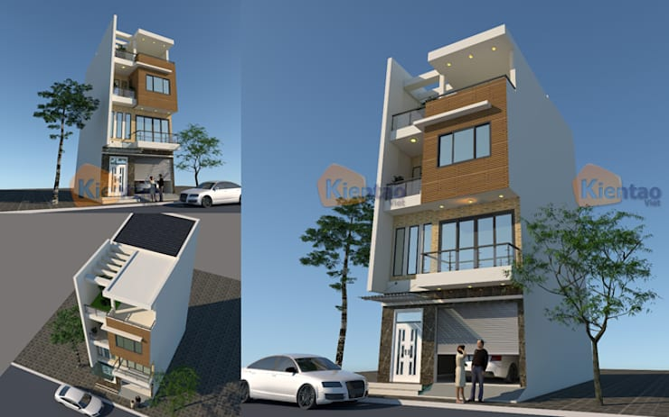Mẫu nhà phố đẹp 4 tầng chi phí 900 triệu tại Chương Mỹ – NP 136:  Biệt thự by CÔNG TY CỔ PHẦN XD&TM KIẾN TẠO VIỆT