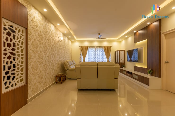 Valmark Aastha, 3 BHK - Mr. Anup & Ms. Harshitha:  Living room by DECOR DREAMS