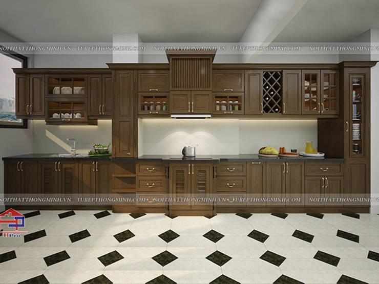 Ảnh thiết kế 3D tủ bếp gỗ sồi mỹ tân cổ điển nhà anh Dũng ở tòa Hei Tower:  Kitchen by Nội thất Hpro