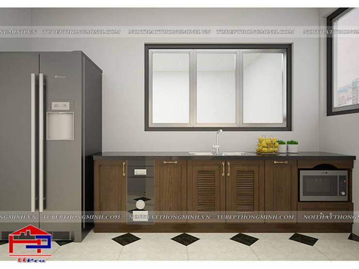 Ảnh 3D thiết kế tủ bếp tân cổ điển gỗ sồi mỹ nhà anh Dũng ở tòa Hei Tower:  Kitchen by Nội thất Hpro
