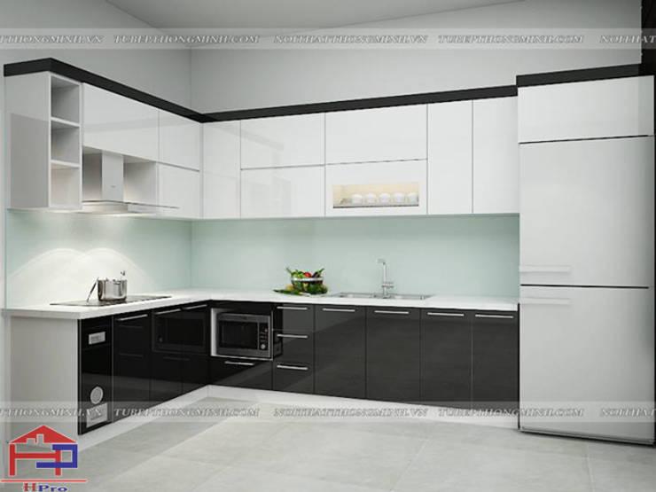 Ảnh 3D thiết kế tủ bếp acrylic nhà anh Thủy ở Hải Phòng:  Kitchen by Nội thất Hpro