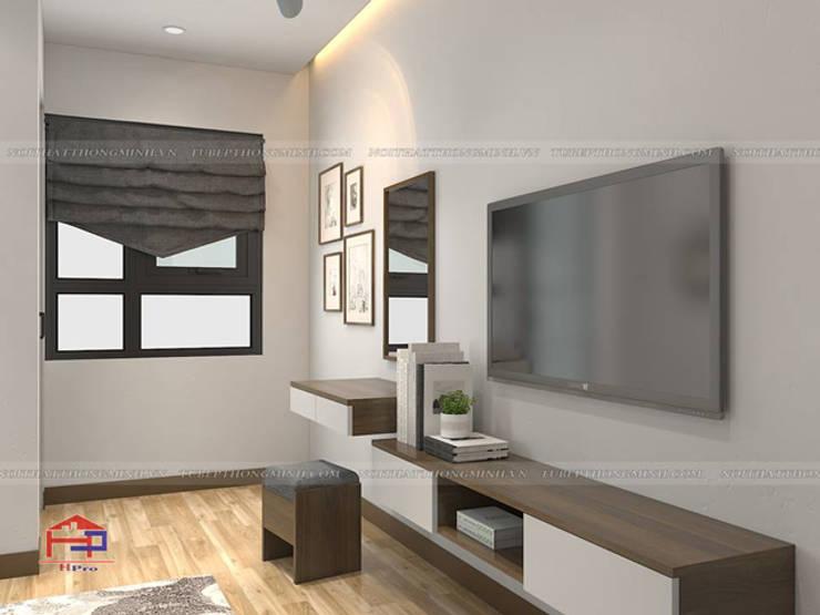 Ảnh 3D thiết kế nội thất phòng ngủ master nhà anh Thủy ở Hải Phòng:  Bedroom by Nội thất Hpro