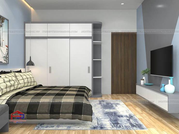 Ảnh 3D thiết kế nội thất phòng ngủ cho con nhà anh Thủy - view 1:  Bedroom by Nội thất Hpro