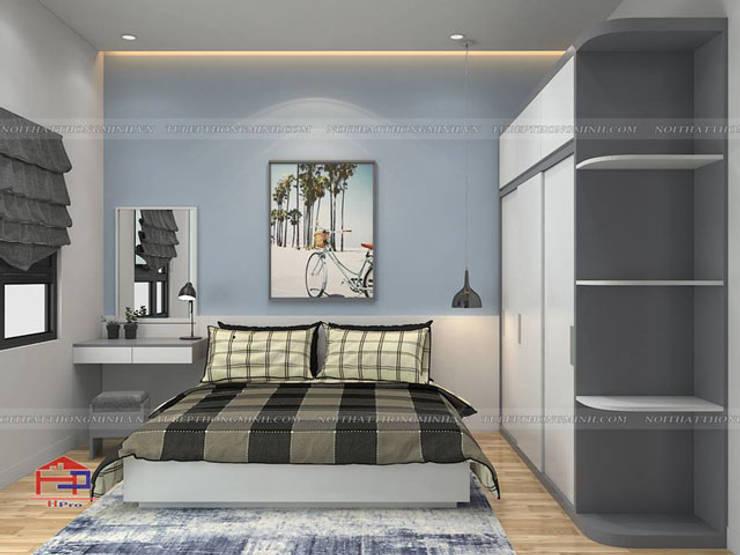 Ảnh 3D thiết kế nội thất phòng ngủ cho con nhà anh Thủy - view 2:  Bedroom by Nội thất Hpro