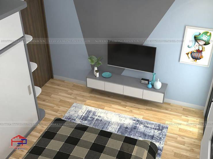Ảnh 3D thiết kế nội thất phòng ngủ cho con nhà anh Thủy - view 3:  Bedroom by Nội thất Hpro