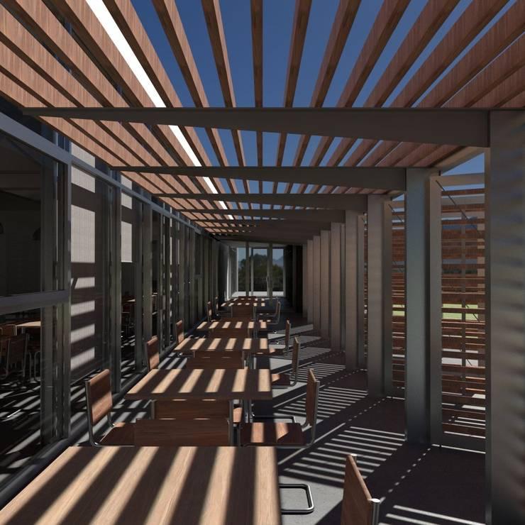 Vista de la entrada desde el porche de la fachada oeste: Bares y Clubs de estilo  de Divers Arquitectura, especialistas en Passivhaus en Sabadell