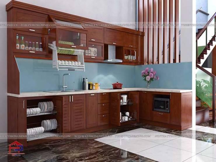 Ảnh thiết kế 3D tủ bếp gỗ xoan đào chữ L nhà anh Lý ở Vinh:  Kitchen by Nội thất Hpro