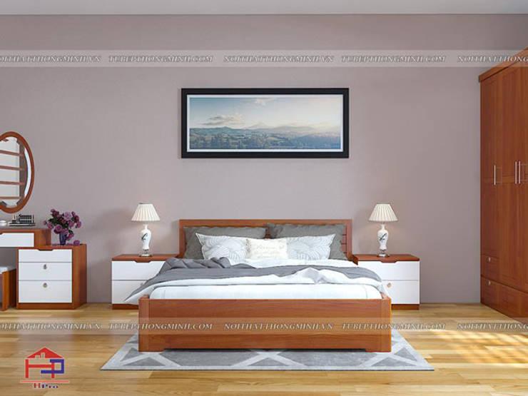 Ảnh 3D thiết kế nội thất phòng ngủ master nhà anh Lý ở Vinh:  Bedroom by Nội thất Hpro