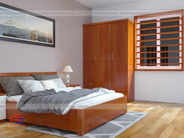 Ảnh 3D thiết kế nội thất phòng ngủ master nhà anh Lý ở Vinh - view 2:  Bedroom by Nội thất Hpro