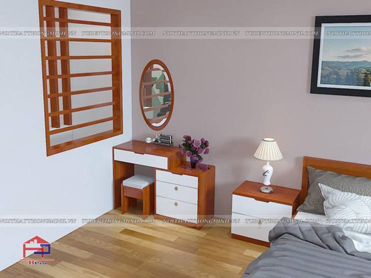 Ảnh 3D thiết kế nội thất phòng ngủ master nhà anh Lý ở Vinh - view 3:  Bedroom by Nội thất Hpro
