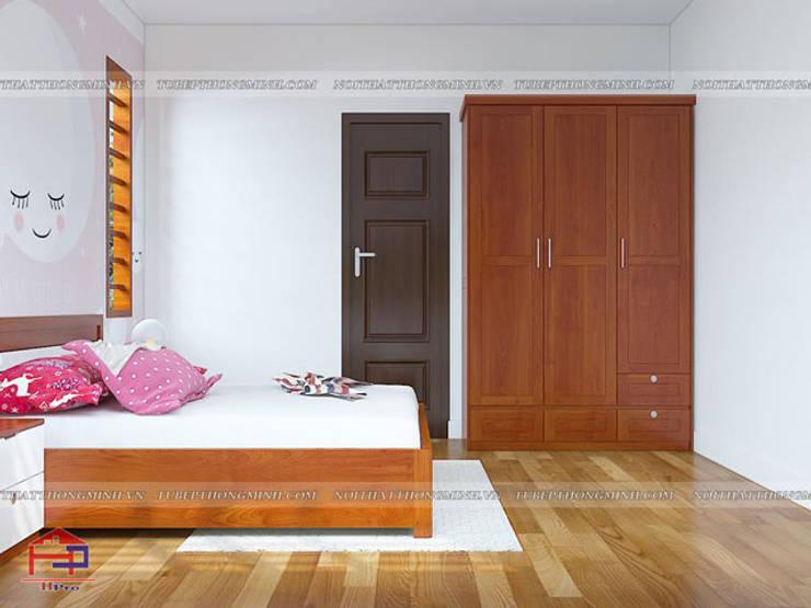 Ảnh 3D thiết kế nội thất phòng ngủ bé gái nhà anh Lý ở Vinh - view 2:  Kitchen by Nội thất Hpro