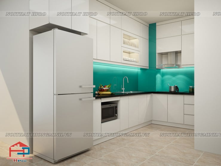 Ảnh thiết kế 3D tủ bếp laminate nhà chị Hương ở Nguyễn Tuân:  Kitchen by Nội thất Hpro
