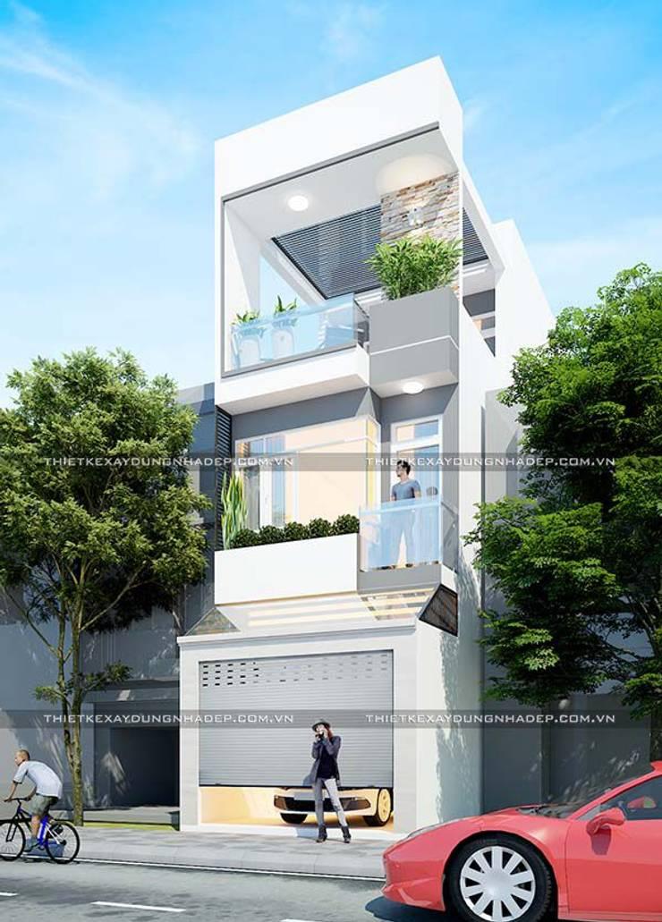 Mẫu nhà ống đẹp 3 tầng 4m:  Nhà by Công ty cổ phần tư vấn kiến trúc xây dựng Nam Long