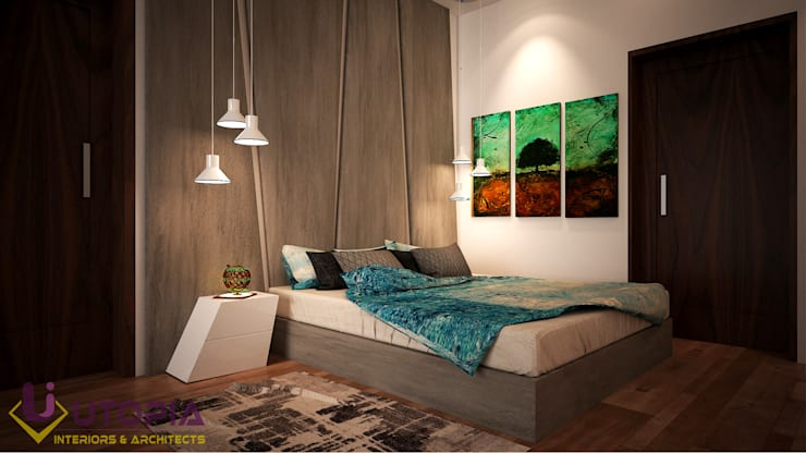 designer bed:  Bedroom by Utopia Interiors & Architect,
