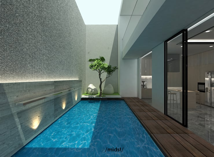 Pool Terrace:  Kolam Renang by M I D S T Interiors