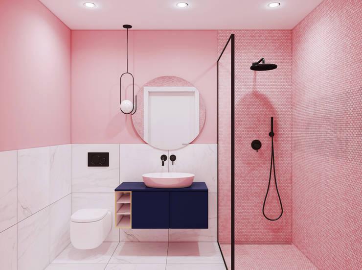 Łazienka w Różu: styl , w kategorii Łazienka zaprojektowany przez Pracownia Projektowa HybriDesign Adelina Czerbak ,