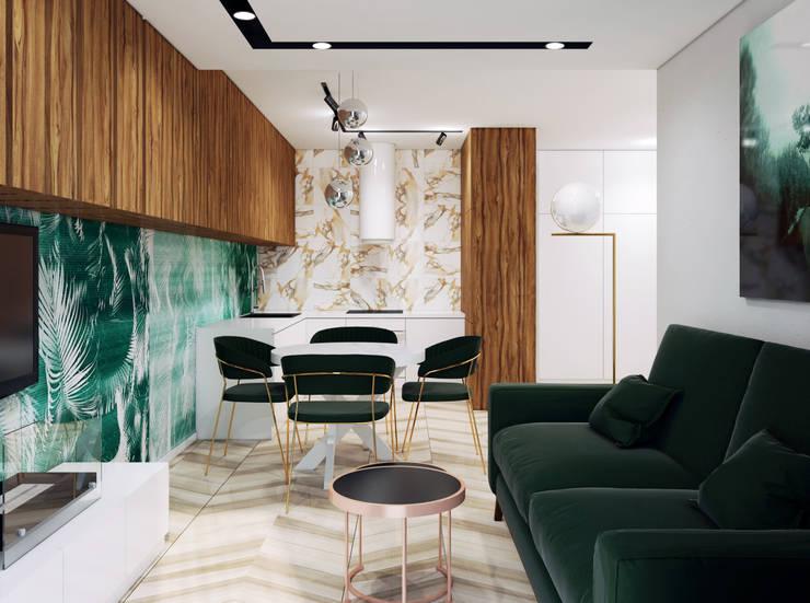 Ultranowoczesny Salon Z Zielonym Akcentem: styl , w kategorii Salon zaprojektowany przez Pracownia Projektowa HybriDesign Adelina Czerbak ,