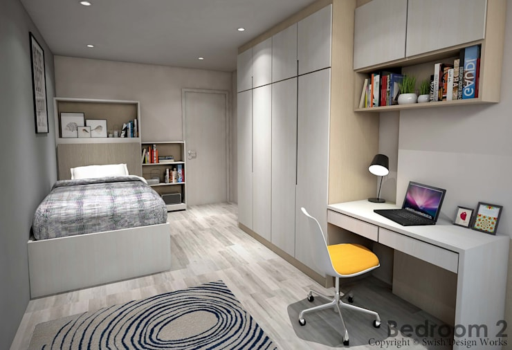 Hougang Street 22:  Small bedroom by Swish Design Works