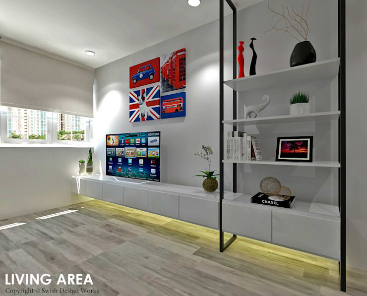 Hougang Street 22:  Living room by Swish Design Works