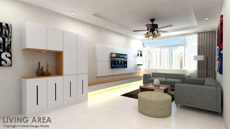 Ang Mo Kio Ave 10:  Living room by Swish Design Works
