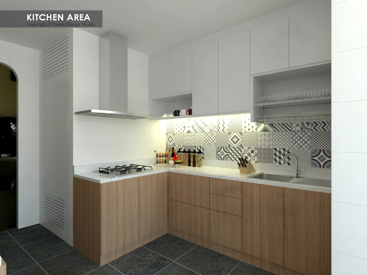 Serangoon Central:  Built-in kitchens by Swish Design Works,Asian
