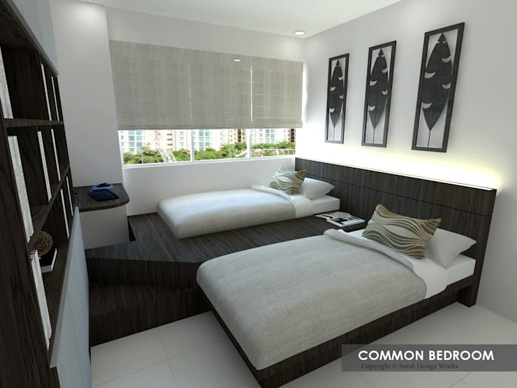 Potong Pasir Ave 1:  Small bedroom by Swish Design Works,Modern