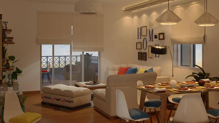 تصميم فراغ معيشة ومطبخ مفتوح:  غرفة المعيشة تنفيذ AmiraNayelDesigns