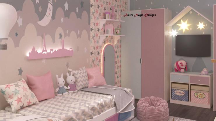تصميم غرفة نوم :  غرفة نوم بنات تنفيذ AmiraNayelDesigns