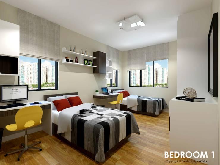 Neram Crescent :  Small bedroom by Swish Design Works,Modern