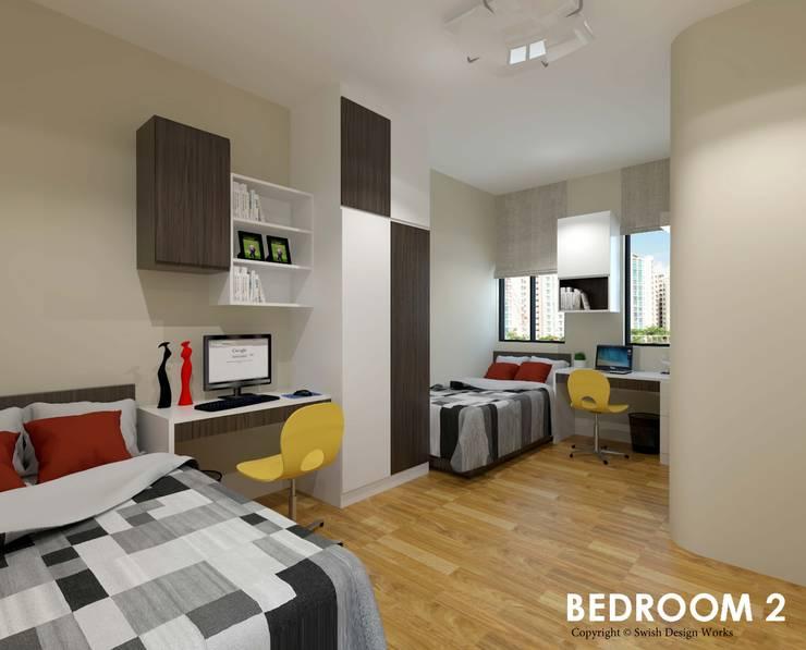 Neram Crescent :  Bedroom by Swish Design Works,Modern