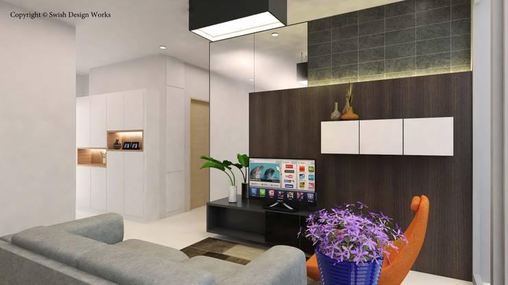 Sennett Residence:  Living room by Swish Design Works