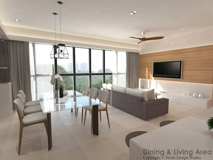 Flamingo Valley:  Dining room by Swish Design Works,Modern