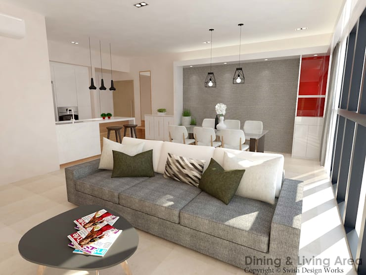 Flamingo Valley:  Living room by Swish Design Works,Modern