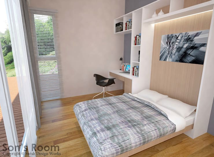 Flamingo Valley:  Small bedroom by Swish Design Works,Modern