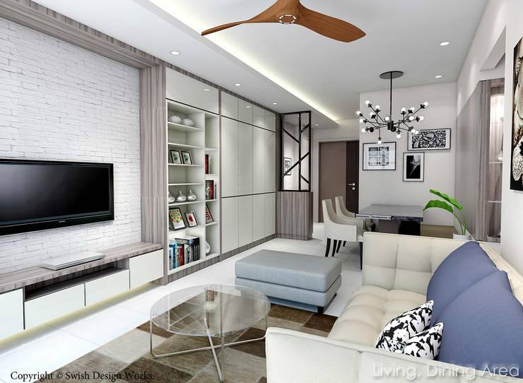 Kallang Trivista:  Living room by Swish Design Works