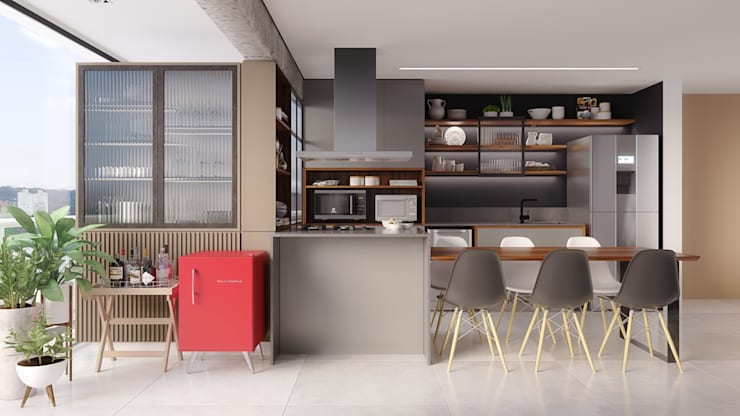 by Ana Guedelha Arquitetura e Interiores Industrial Wood Wood effect