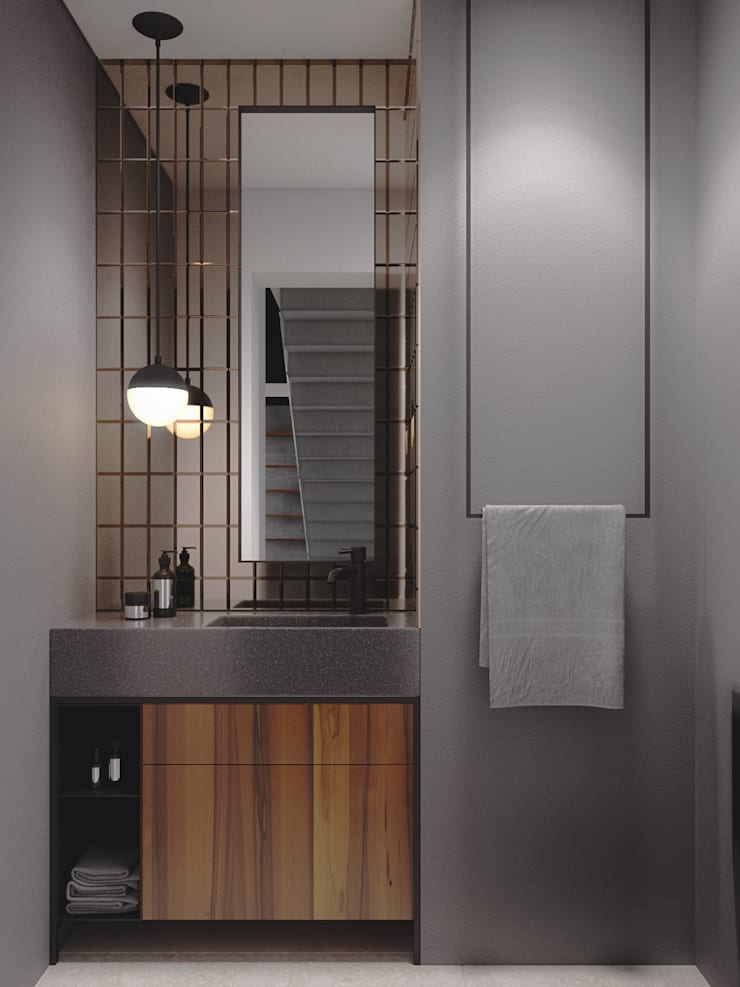 Industrial style bathroom by Ana Guedelha Arquitetura e Interiores Industrial