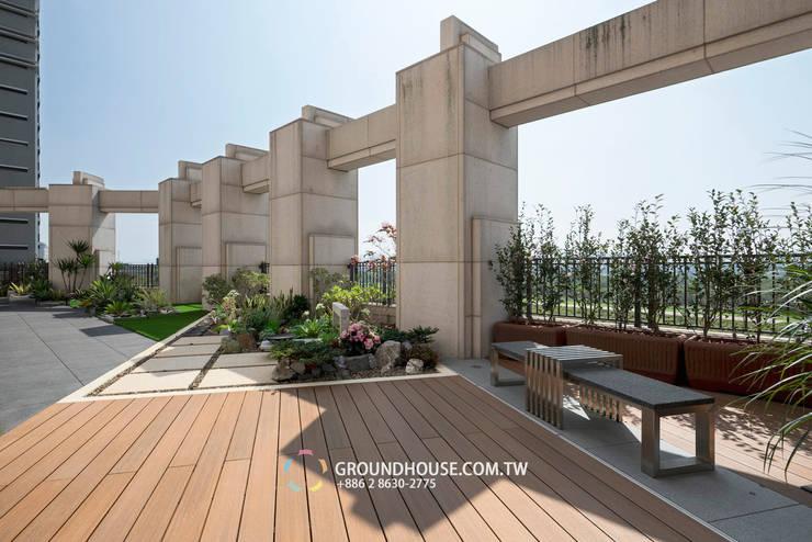 平坦又寬敞的空間除了運動以外也能當作聚會的好地方:  露臺 by 大地工房景觀公司