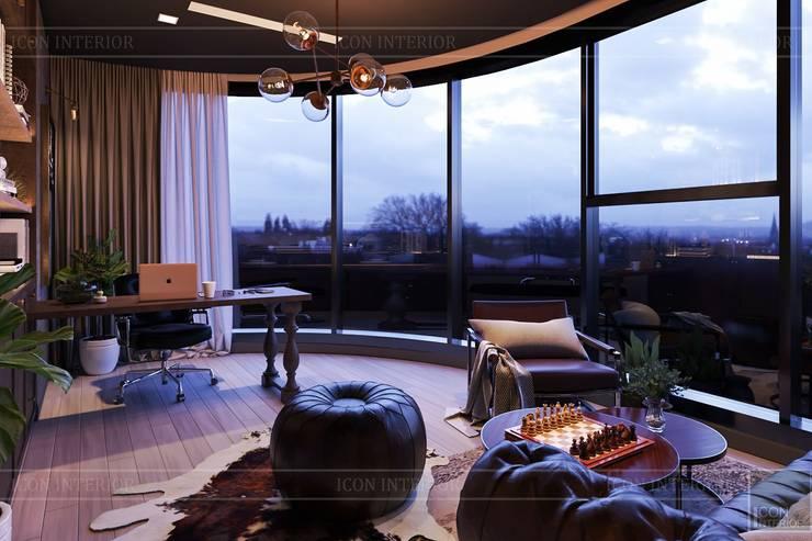 Đẳng cấp với thiết kế nội thất Transition style:  Phòng học/Văn phòng by ICON INTERIOR