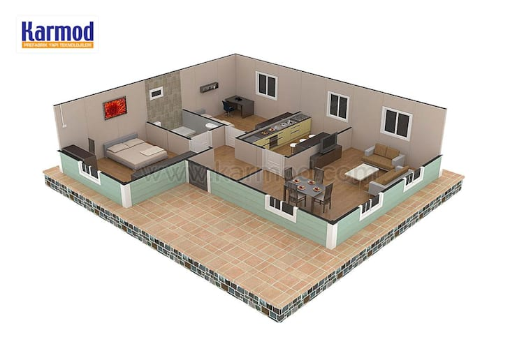 KARMOD PREFABRICATED TECHNOLOGIES – Karmod Maisons Préfabriquée 86 m2:  tarz