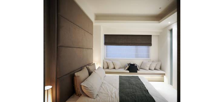 臥室延續了公領域簡單俐落的風格:  小臥室 by 鼎爵室內裝修設計工程有限公司