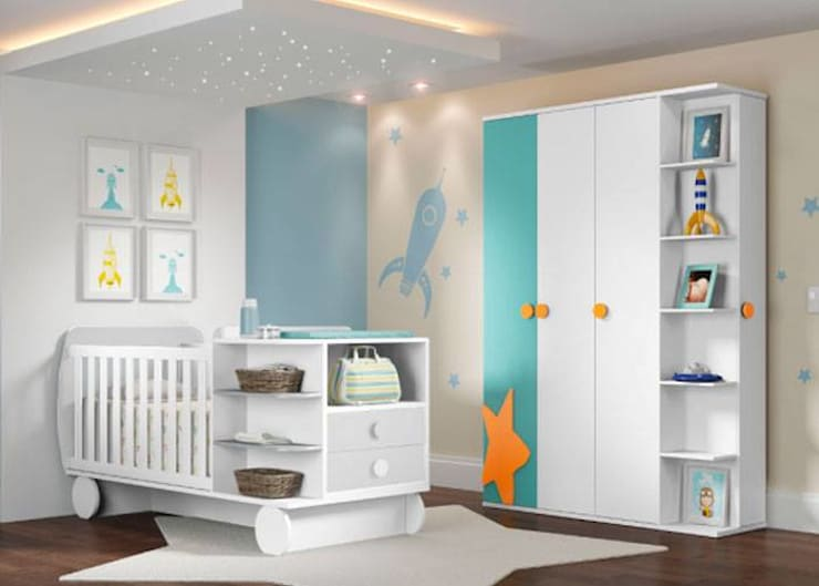 JUEGO DE ALCOBA INFANTIL: Cuartos para bebés de estilo  por MUEBLERIA Y CARPINTERIA MADEYRA